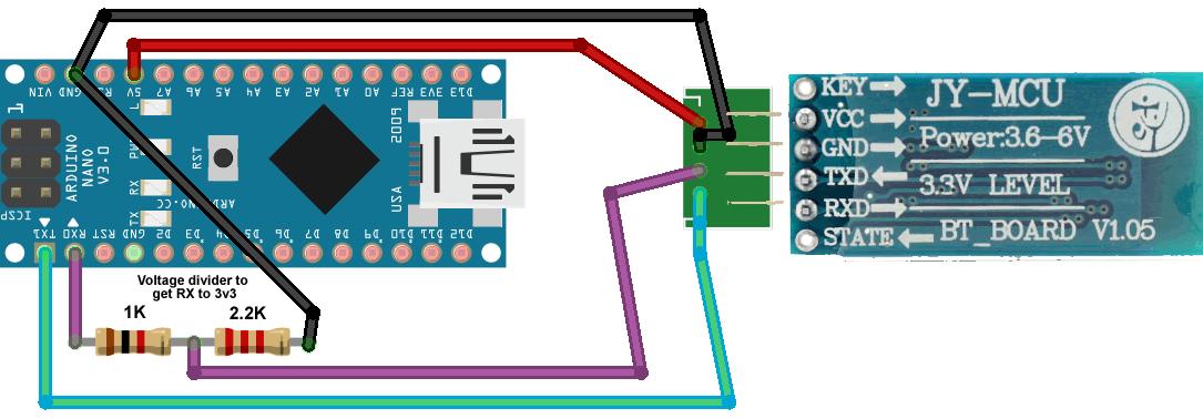 Arduino Nano Bluetooth Wiring