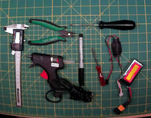 Tools Needed: phillips screw driver (small and med), wire cutters, hot glue gun, krazy/CA glue, small crescent wrench, pen/sharpie, LiPo and ESC (for binding/testing)
