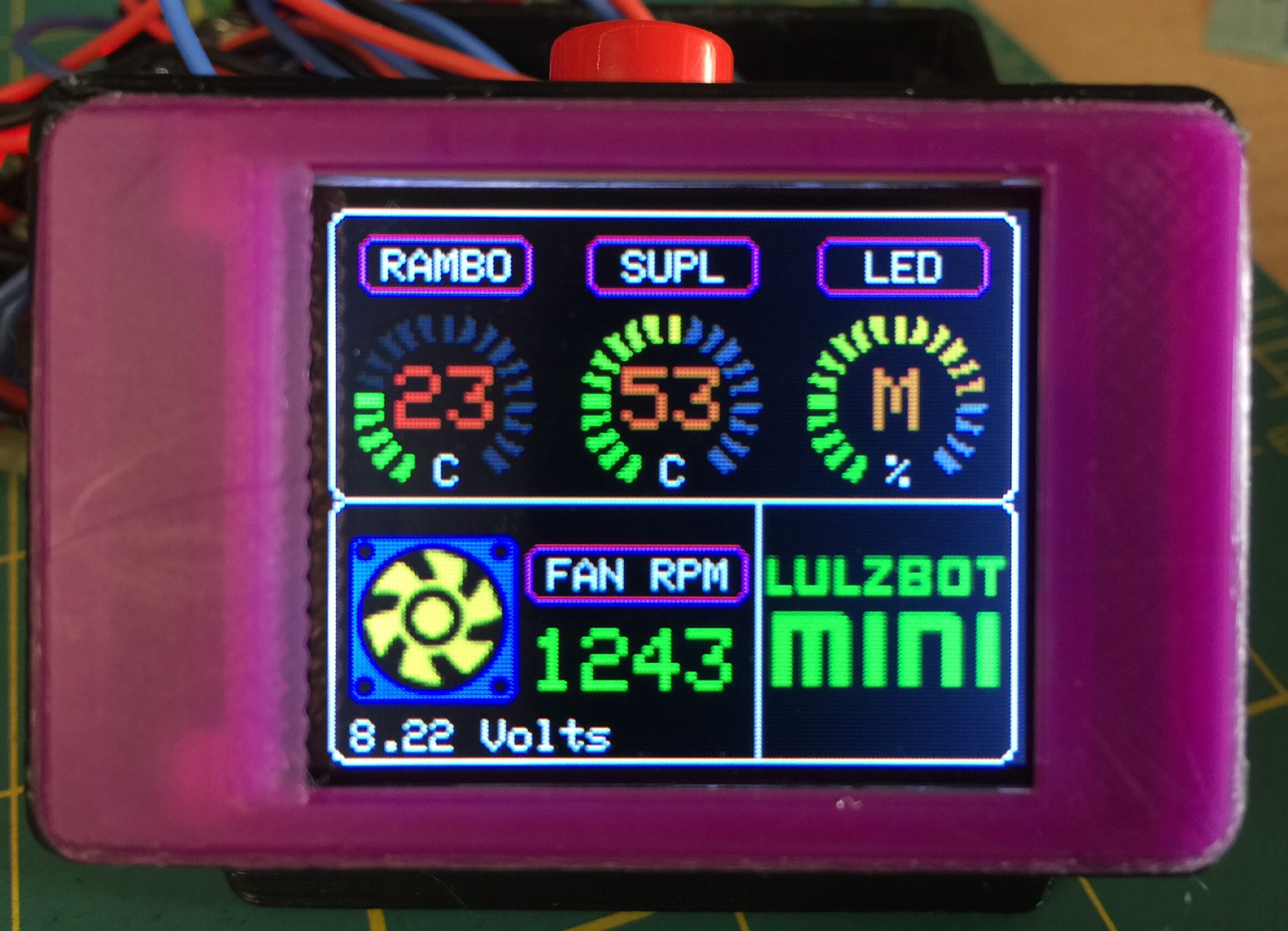 Lulzbot mini arduino temp monitor fan led controller